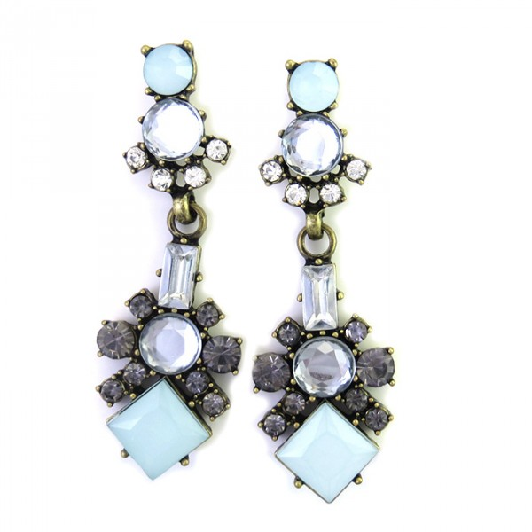 Kania Pastel Blue Geo Art Deco Earrings