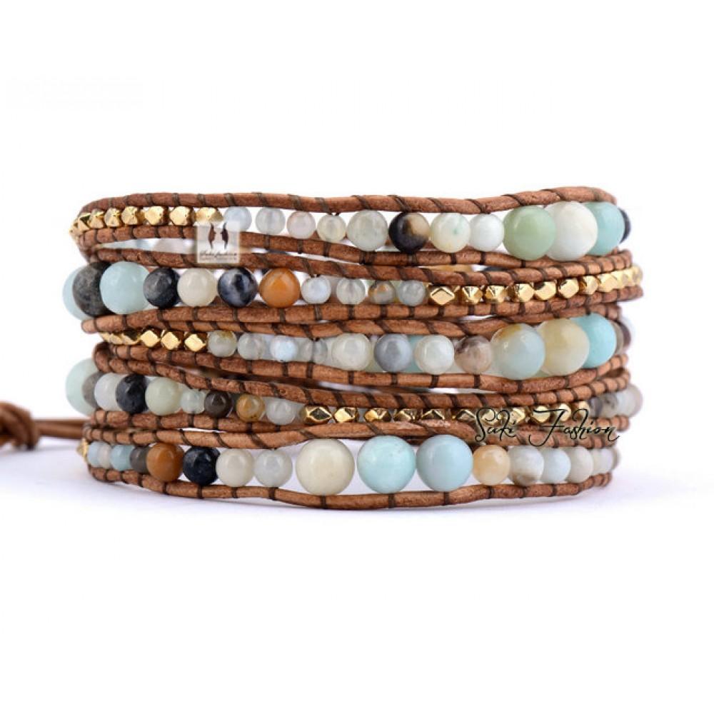 Pastel Chalcedony Beads Leather Wrap Bracelet