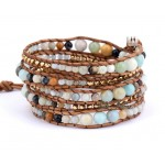 Pastel Chalcedony Beads Leather Wrap Bracelet