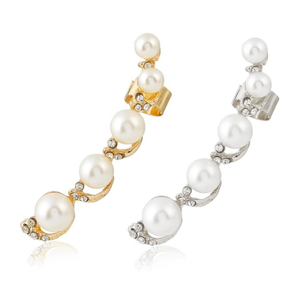 Pearl Swirls Crystal Gold-Tone Ear Cuff