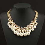 Crystals & Ivory Pearls Cluster Bib Necklace