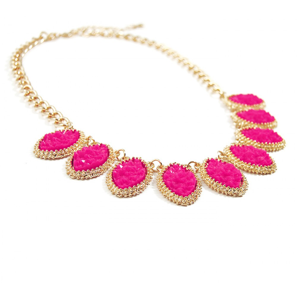 Neon Pink Drzuy Marquise Stone Linked Bib Statement Necklace