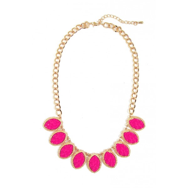 Pink Druzy Marquise Linked Bib Necklace