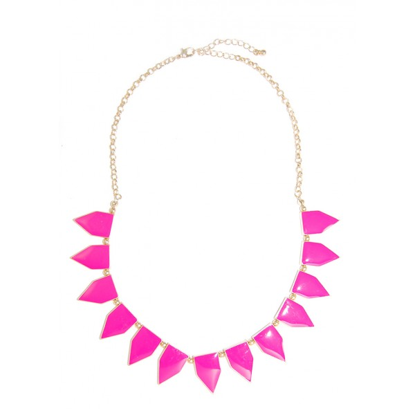 Hot Pink Enamel Geometric Tab Gold Toned Necklace