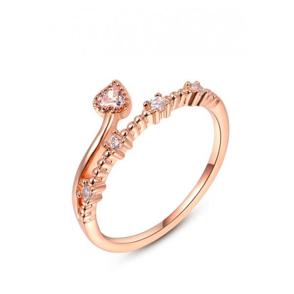Pure Heart CZ Crystal Rose Gold Ring