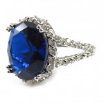 Princess Sapphire Oval Crystal Stone CZ Ring