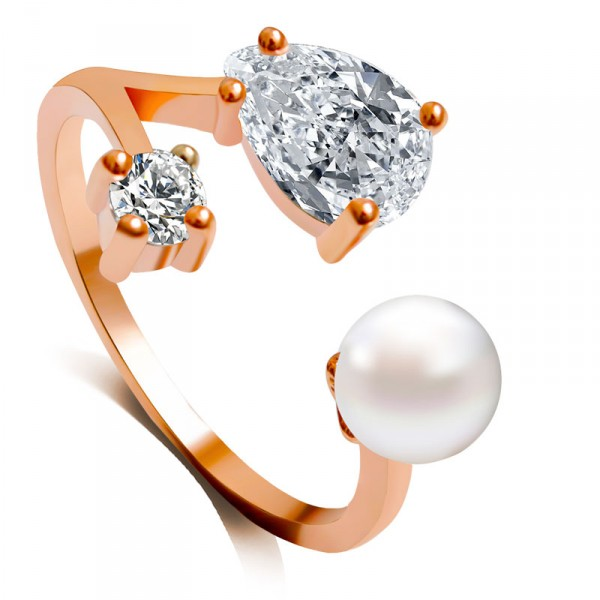 Crystals and Pearl Rose Gold Dainty Ring
