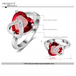 Ruby Red Heart Austrian Crystal Encrusted Ring
