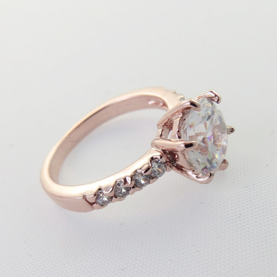 Simple Crystal Encrusted Swiss Zircon 18k Rose Gold Plated Ring
