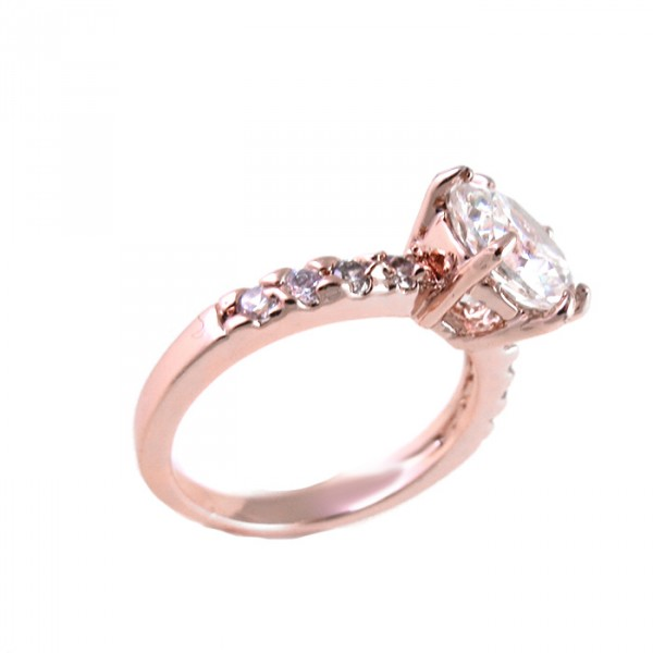 Crystal Stone Solitary Rose Gold Ring