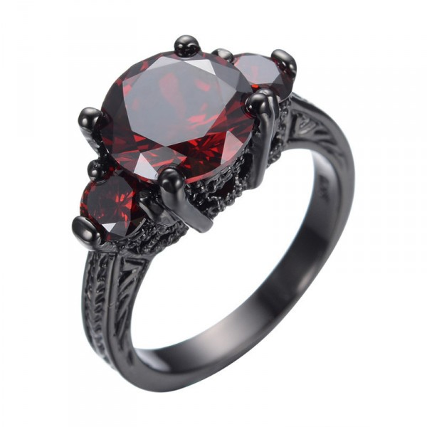 Ruby Red Austrian Crystal Black Gold Filled Ring