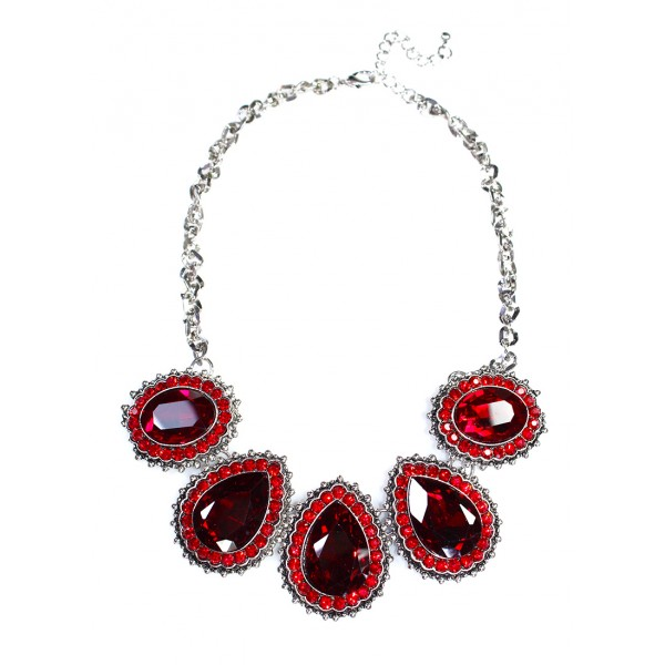 Ruby Red Crystal Encrusted Teardrop Statement Necklace