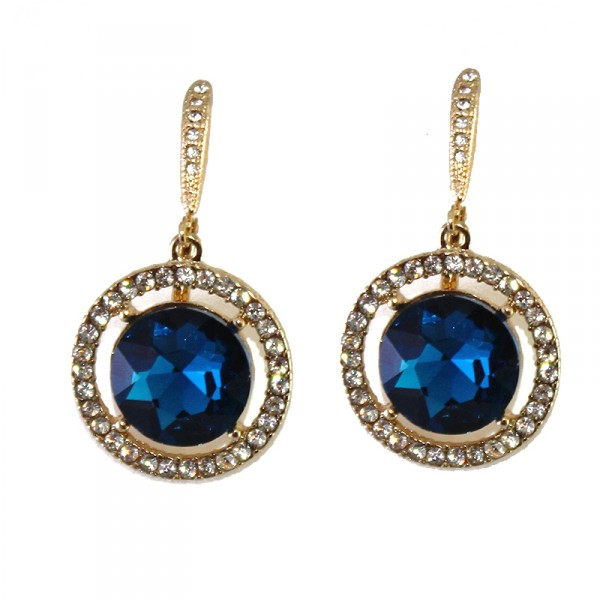 Faria Blue Round Pave Crystal Earrings