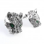 Iced Jaguar Head Emerald Stud Earrings