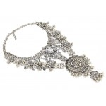 Silver Crystal Waterfall Diamante Medallion Bib Necklace