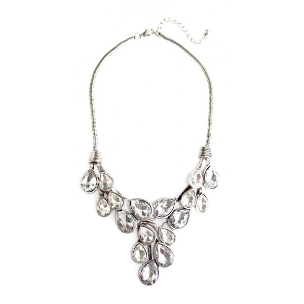 Silver Crystal Dew Drop CZ Statement Necklace