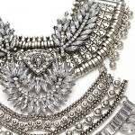 Ixchell Art Deco Crystal Embellished Bold Statement Necklace
