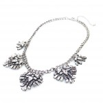 Luna Silver Crystal Art Deco Bib Necklace