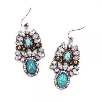 Tibet Turquoise Crystal Burst Vintage Earrings