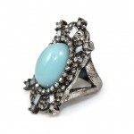 Crystal & Turquoise Cabochon Boho Knuckle Ring