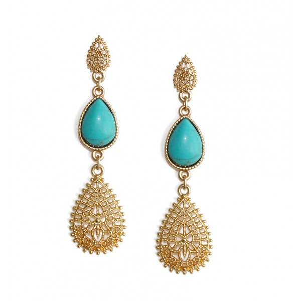 Krishna Teardrop Gold Leaf Earrings