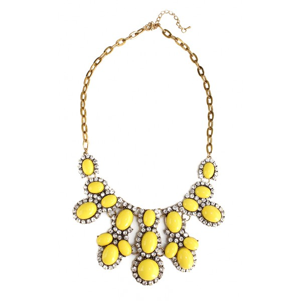 Yellow Bauble Crystal Bib Necklace