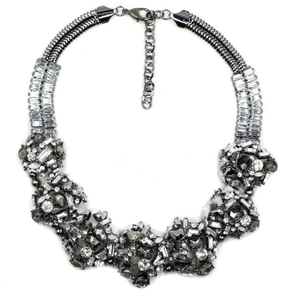 Crystal Metallic Stone Confection Statement Necklace