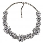 Chrysanthemum Crystal Floral Statement Necklace