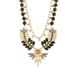Obsidian Wreath Stone Cluster Statement Bib Necklace