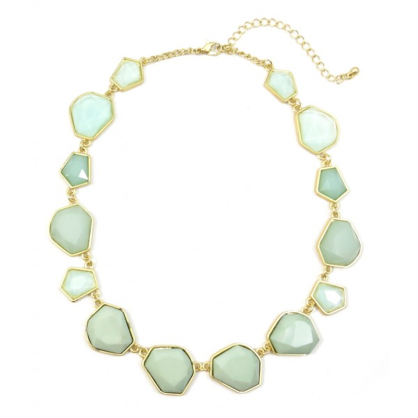 Faceted Mint Stone Otto Handcrafted Strand Necklace