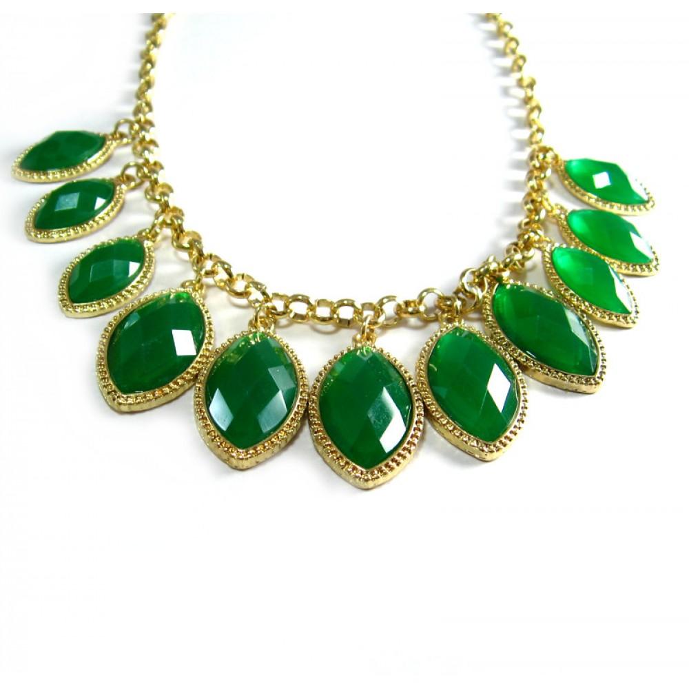Emerald Laurel Stone Strand Necklace - photo#37
