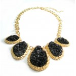 Black Mojova Druzy Stone Bib Necklace