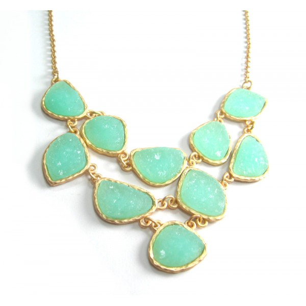Mint Druzy Stone Link Bib Necklace