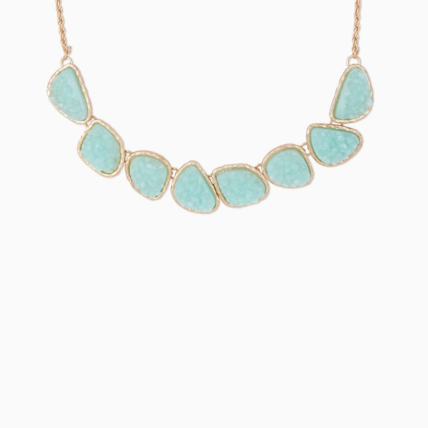 Mint Druzy Stone Short Necklace