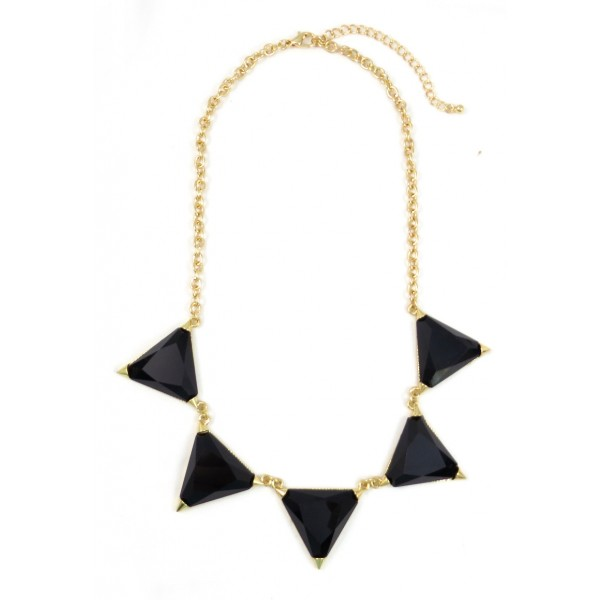 Harlow Black Resin Triangle Bib Necklace