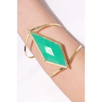 Mint Geometric Stone Cut-Out Cuff Bracelet