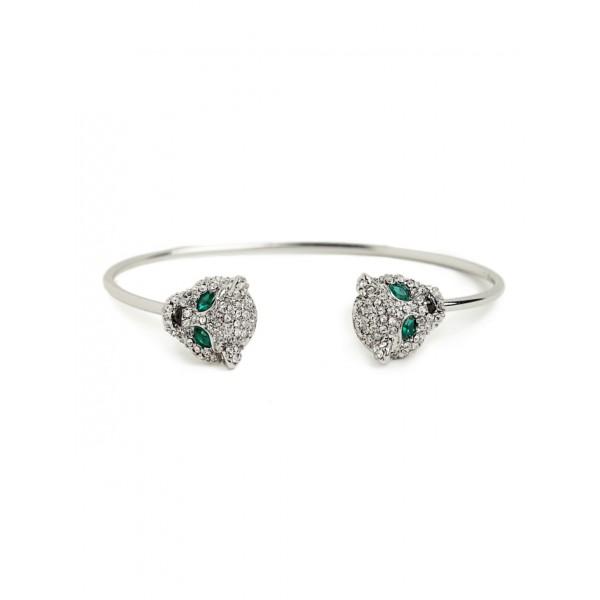 Silver Crystal Jaguar Head Bracelet