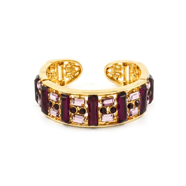 Glam Amethyst Stone Cut-Out Cuff Statement Bracelet