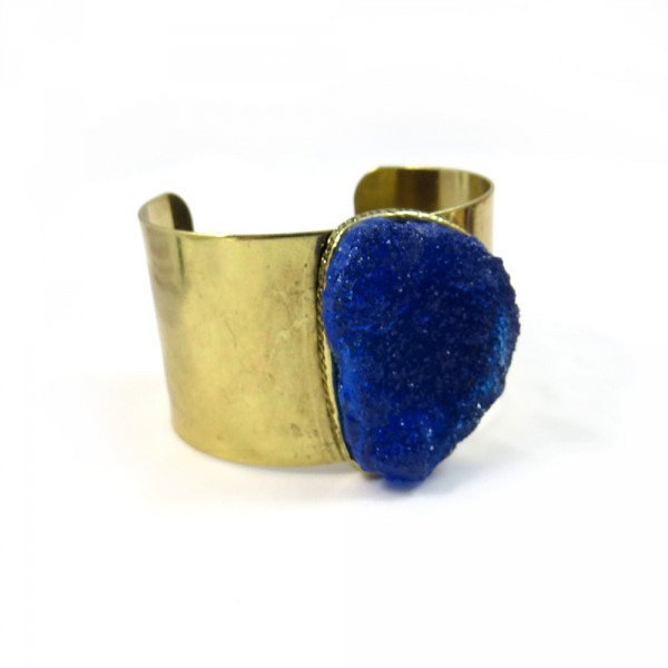 Cobalt Druzy Faux Stone Open Cuff Statement Bracelet Antique Gold