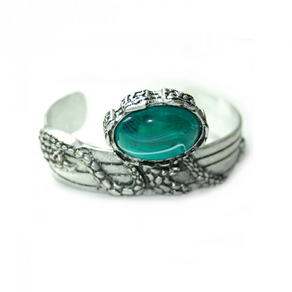 Turquoise Arty Marbled Agate Stone Wrap Cuff Bracelet