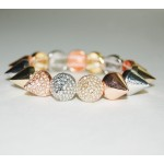 Mixed Metal Rhinestone Spike Bracelet