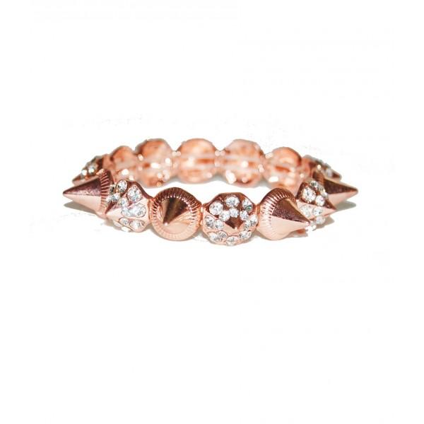 Rose Gold Rhinestone Spike Bracelet