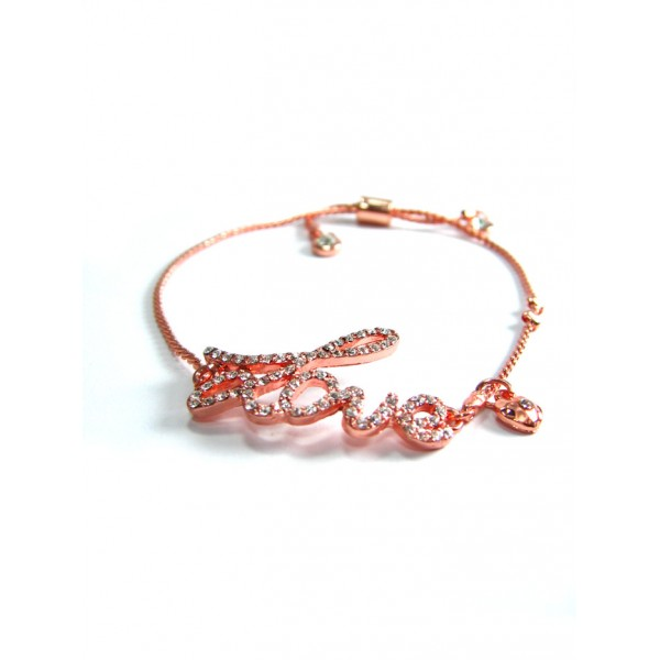 Rose-Gold Rhinestone Encrusted Love Charm Bracelet