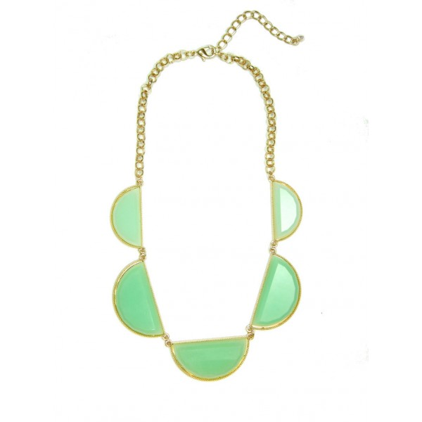 Mint Milky Scalloped Stones Necklace