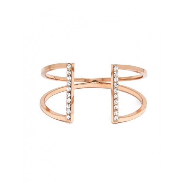 Aiza Crystal Parallel Rose Gold Cuff