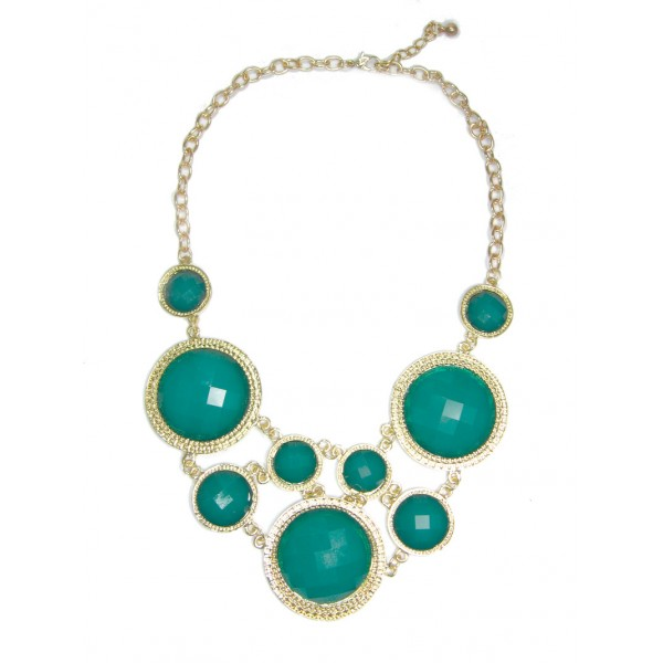 Hunter Green Cascade Circular Faceted Stone Bib