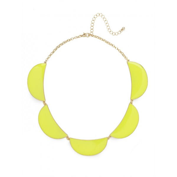 Neon Yellow Half Moon Enamel Statement Necklace