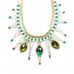 Absinthe Emerald Crystal Stone Statement Bib Necklace