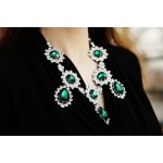 Glam Emerald Crystal Teardrop Statement Necklace