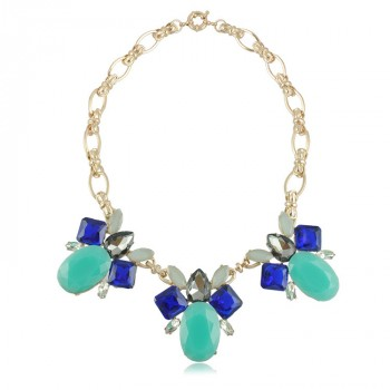 Seafoam Sapphire Crystal Grand Stone Statement Bib Necklace
